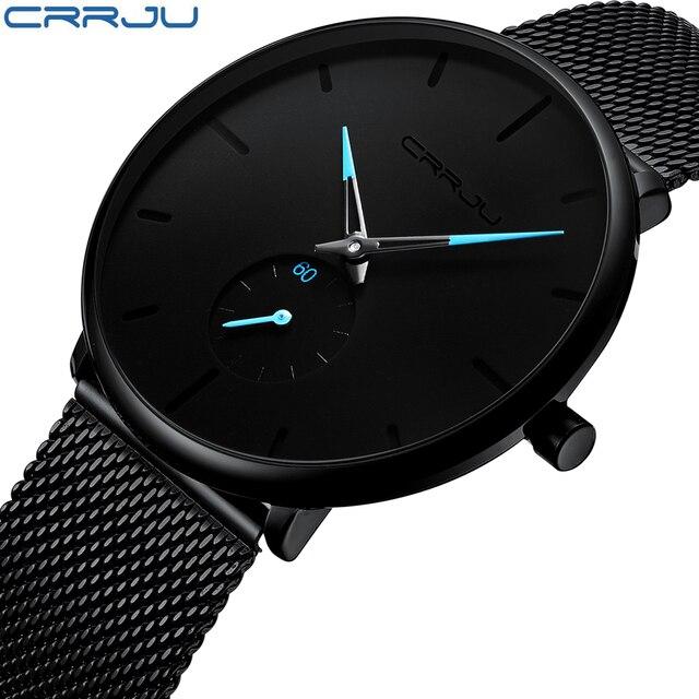 Crrju relojes de moda para hombre de marca superior reloj de cuarzo de lujo hombres Casual delgado de malla de acero impermeable reloj deportivo