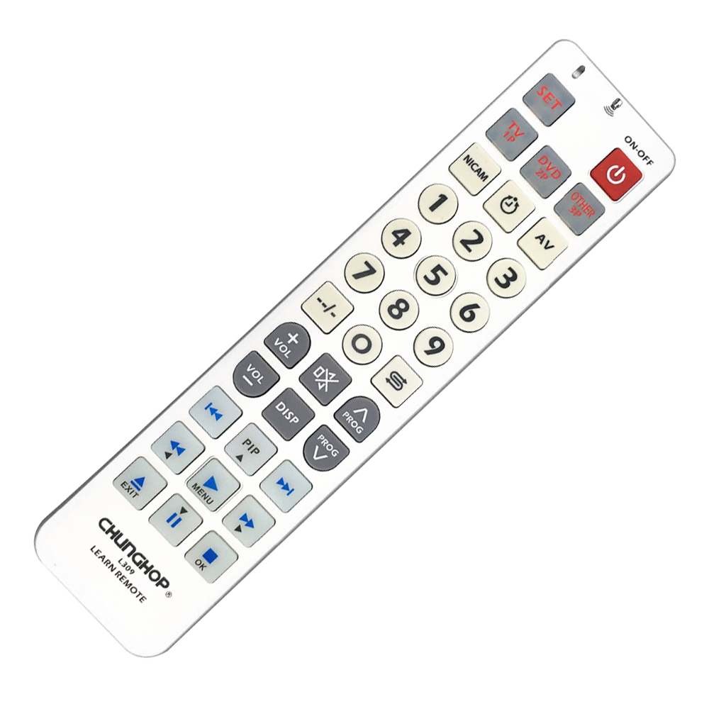 CHUNGHOP Universal learning Remote Control controller L309 For TV/SAT/DVD/CBL/DVB-T/AUX BIG key Large buttons copy chunghop l102 universal single 11 key learning ir remote control silver white 2 x aaa