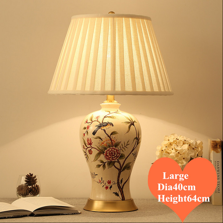 Chinese rural flower bird ceramic large Table Lamps modern plaited linen shade copper base E27 LED lamp for bedside&foyer MF032