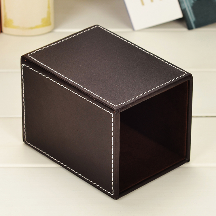 Square Leather Pen Holder Remote Control Pencils Holder Box Desk Organizer Set Office Table Accessories