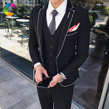 Latest Designs Black Men Suits Slim Fit Prom Wear Wedding for Groom Tuxedo Man Blazer 3Piece Jacket Pants Vest