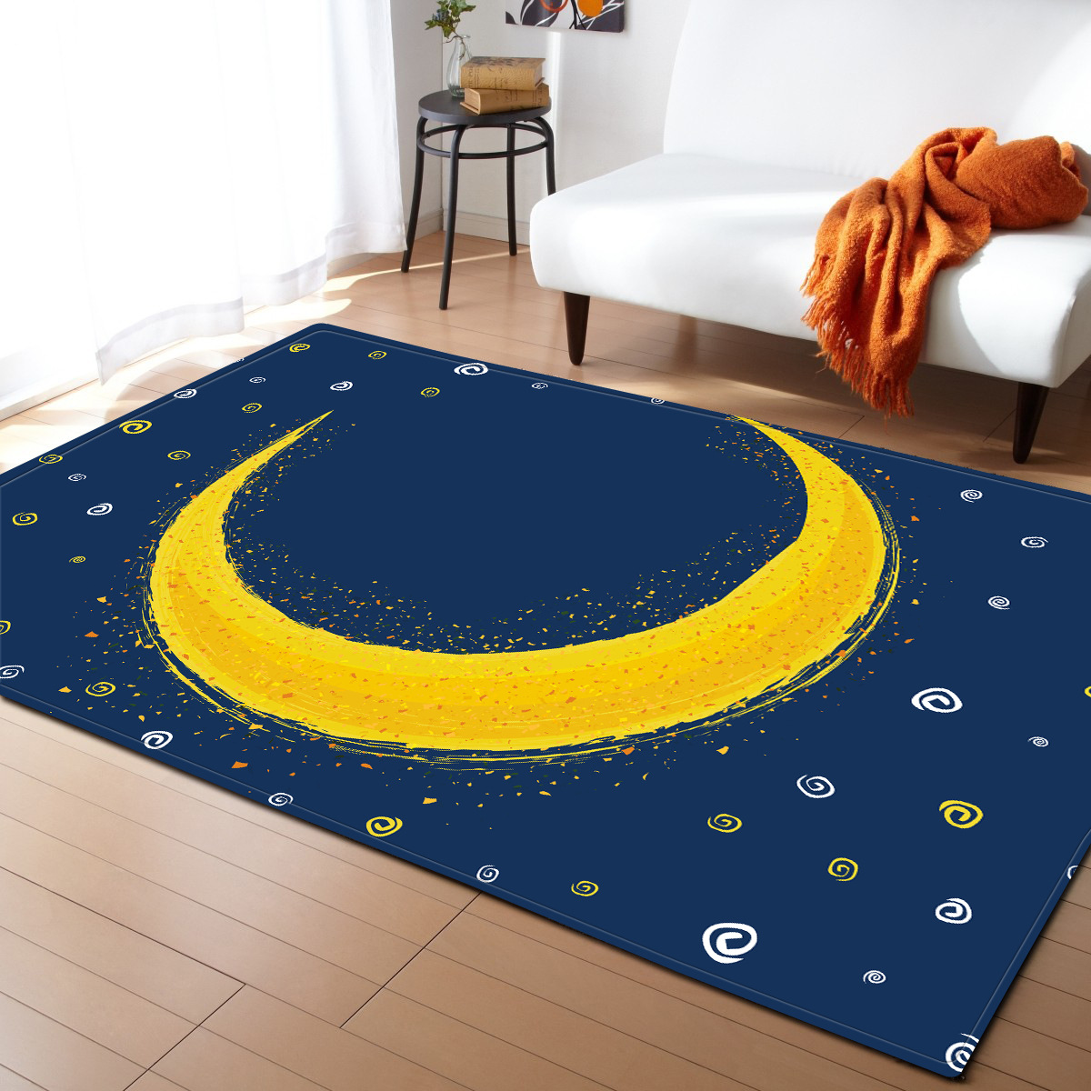 Us 37 28 33 Off Modern Creative Moon Star Carpet Baby Livingroom Bedroom Blue Area Rugs Kids Floor Play Mat Large Size Tapete Soft Pad In Carpet