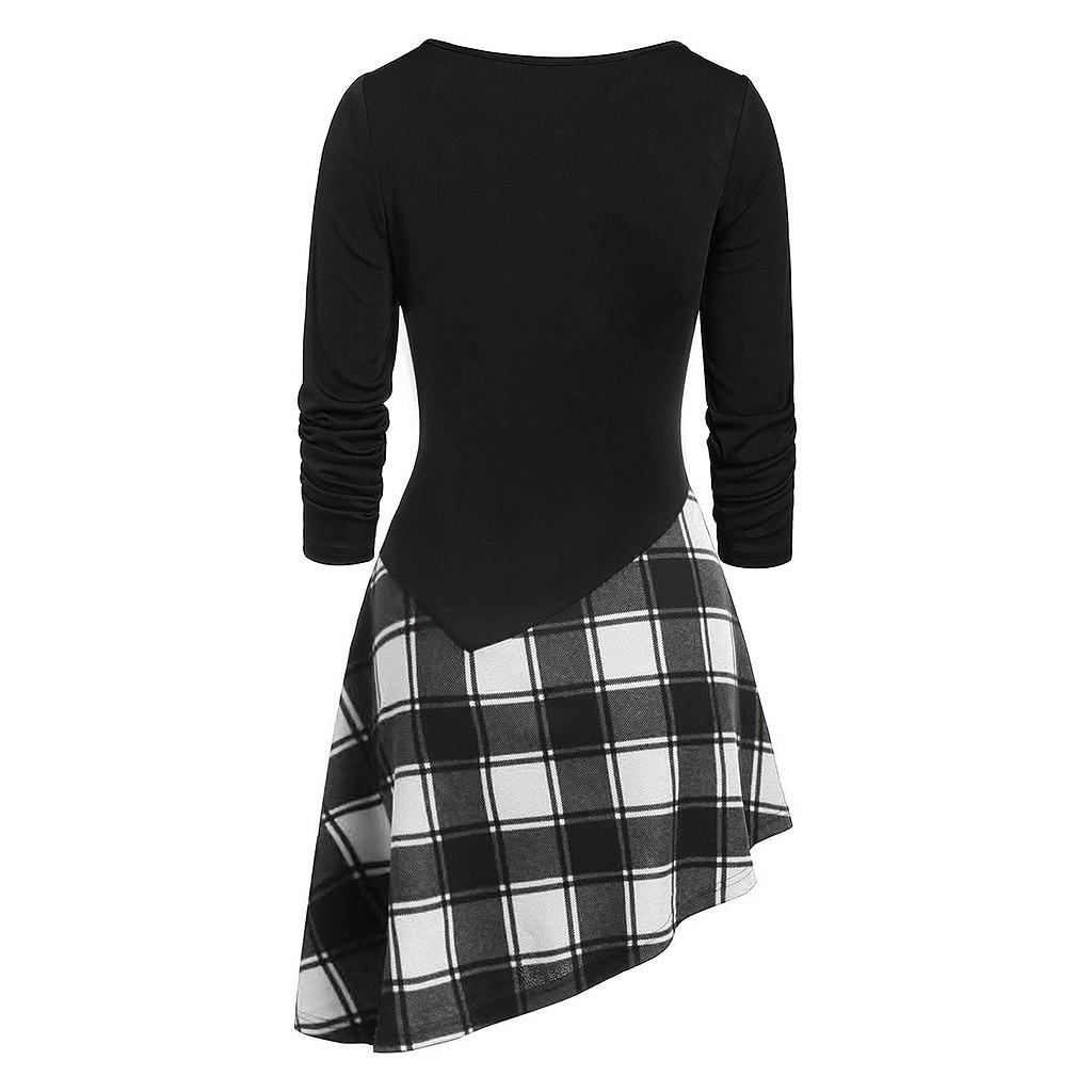 HTB1BknVaQT2gK0jSZFkq6AIQFXan Fashion Women Long Sleeve Cold Shoulder Cross Lace Up Plaid Print Irregular Dress Casual Long girl Tops Dress female S-XXL#J30
