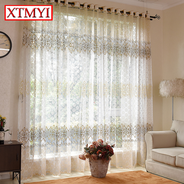 Tulle curtain for living room bedroom light yellow voile curtains ...