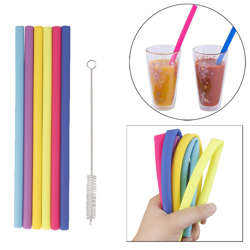 6pcs/lot Reusable Drinking Straw Silicone Straight Straws With Cleaning Brush For Home Party Barware Accessories 731#&