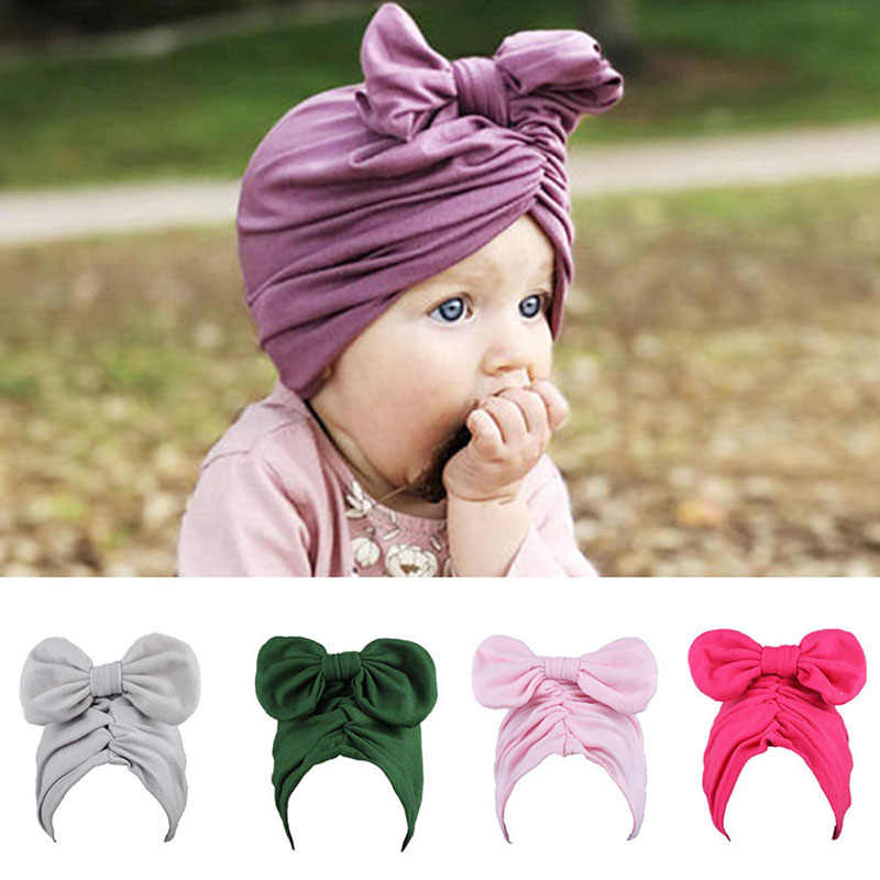 0cee6066a71 Spring Baby Hat Soft Bohemian Girls Beanie Infant Toddler Candy Color Bow  Knot Cap Kids Clothes