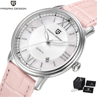 Pagani Design Brand Luxury Watch Women Pink Leather Band Fashion Quartz Wristwatch Steel Waterproof Clock Women reloj mujer 2018