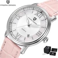 Pagani Design Brand Luxury Watch Women Pink Leather Band Fashion Quartz Wristwatch Steel Waterproof Clock Women reloj mujer 2018