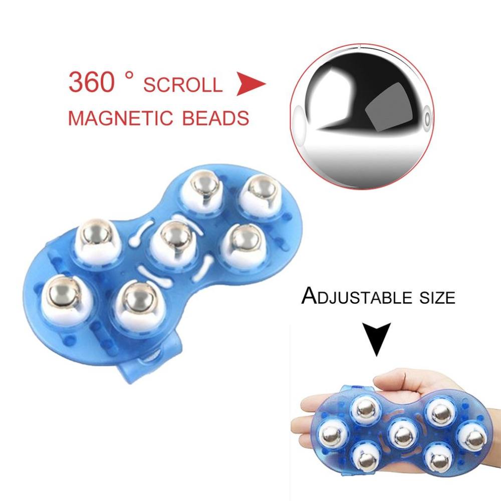 Small Body Massage Glove With 7 Roller Balls Muscle Pain Relief Relax Massager Tool Neck Leg Back Massager Body Health Care peanut shaped ball massager roller dual connecting balls muscle relax massage gym sport full body bar sport yoga fitness tool