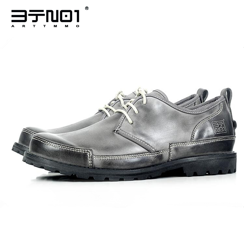 Mens Genuine Leather Lace Up Round Toe Oxfords Casual Chukkas Shoes Work Safety Shoes Retro Matin Boots