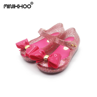 Mini Melissa Original Big Bow Girls Jelly Sandals 2018 New Melissa Children Shoes Baby Sandals Non slip Girls Beach Sandals