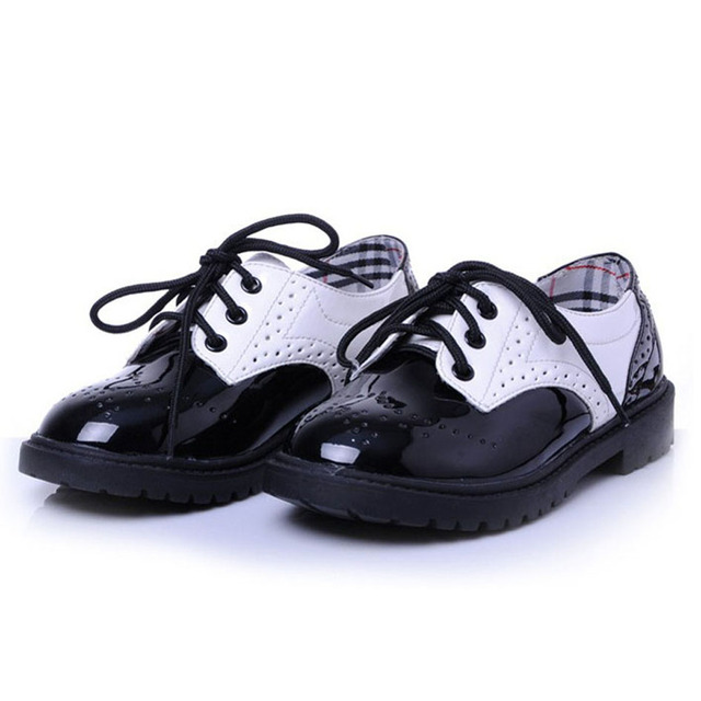 2017 New British Style Children Oxfords Shoes Unisex/ Lace Up Girls Shoes Toddler/Patchwork Little Boys Shoes/Kids Dress Shoes