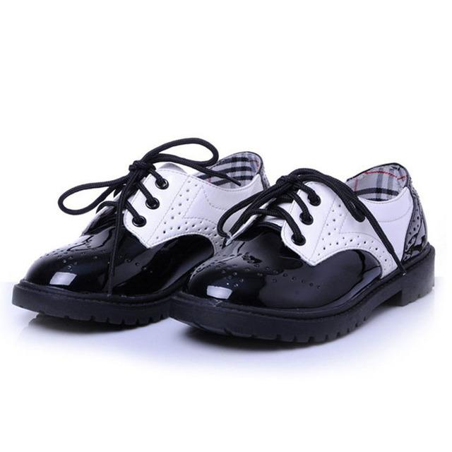 2017 novas crianças estilo britânico oxfords shoes unisex/lace up girls shoes criança/patchwork meninos shoes/crianças vestido shoes