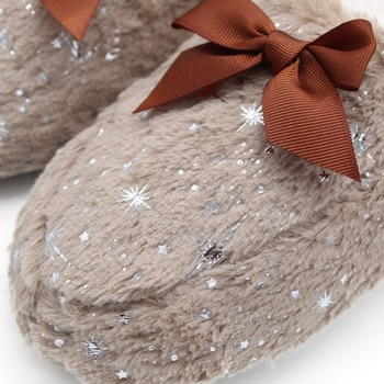 STONE VILLAGE Large Size Bow Snowflake Home Slippers Think Plush Warm Women Slippers Shoes Indoor Slippers Shoes Women 4