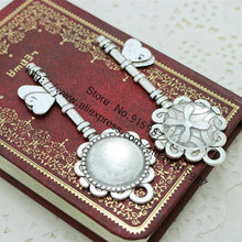 Sweet Bell 8set Antique Silver Metal Alloy Keys 28*72mm(Fit20mm DiA)Round Cabochon Pendant Settings+Clear Glass Cabochon 7E1249