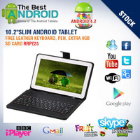 Free Shipping BoDa 16GB Tablet Pc 10.1 Inch Google Android 4.2 Touch Dual Camera1GB RAM HDMI Pad Keyboard Case Bundle 8G Card