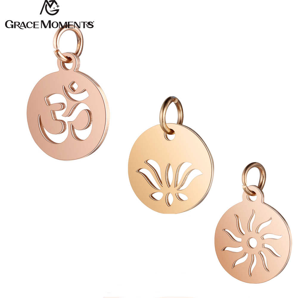 5pcs/Lot 316L Stainless Steel Charms Rose Gold Color Hollow OM Yoga Lotus Sun Charm Pendants for Jewelry Making DIY Handmade