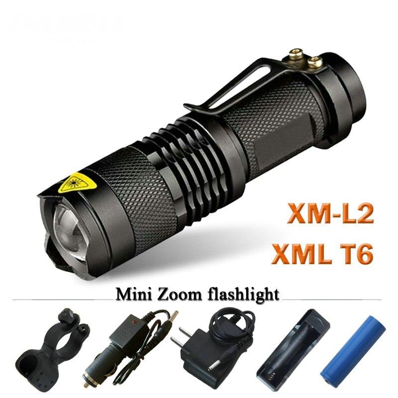 CREE XM L2 Mini Led Torcia Elettrica impermeabile 3800 telescopica Lumen lanterna Torcia Utilizzare 18650 batteria ricaricabile Tattico