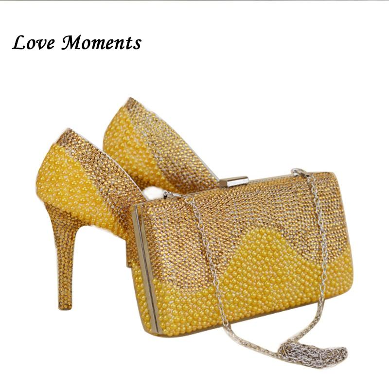 NY Ankomst gul Guld pärla bröllopskor och väska Sätter kristallkvinnors pumpar Högskor damparti Klädskor och handväskor