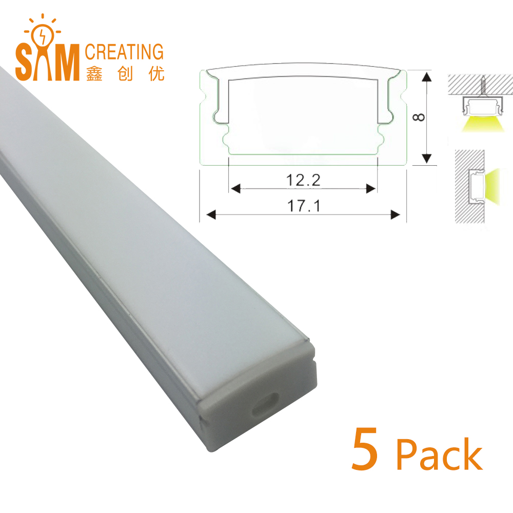 UnvarySam Extruded Aluminium U Shape Channel (1m/3.3ft) - Pack of 5- Ultra Slim - Sturdy Profile - End Caps/ Mounting Clips