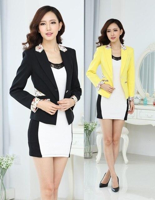 3743ff27460 2015 New Plus Size Fashion Slim Autumn Winter Formal Uniform Style Dresses  Suits Blazer And Dress For Ladies Office Blazers Set
