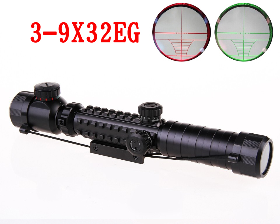 Fishbone type riflescope 3-9x32E Suitable for all Gun Mount For Optics Tactical Telescopic Sight outing Hunting for 20mm Rail Mo