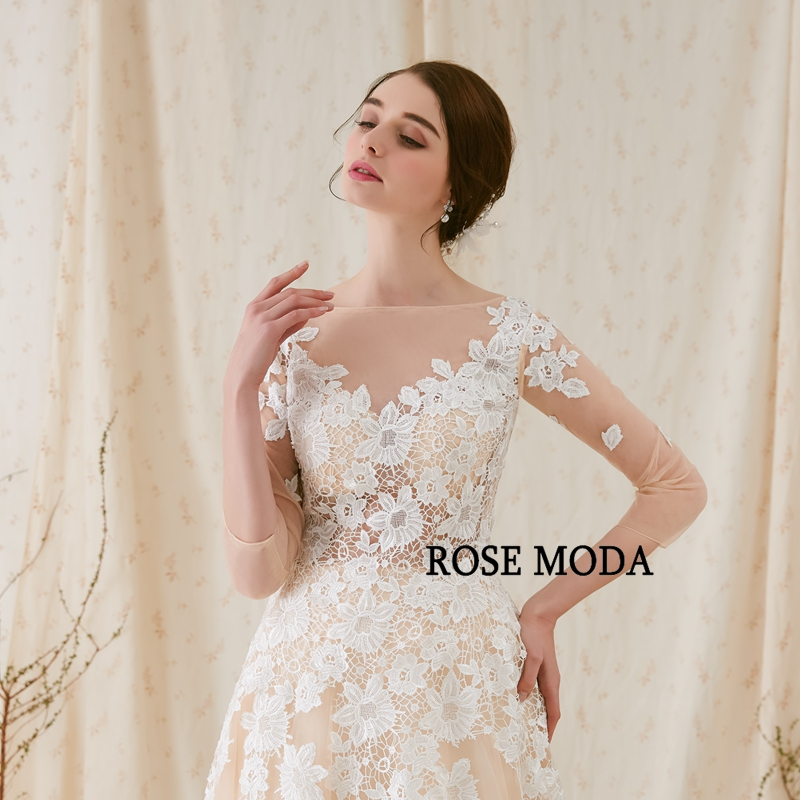 Rose Moda Fransk Blond Wedding Dress 2018 med långa SLeeves - Bröllopsklänningar - Foto 4