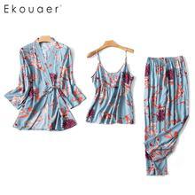 Ekouaer 3PCS Sleepwear Set Women Silk Satin Summer Pajamas Soft Long Sleeve Floral Loose Pajama Kimono Robe Homewear Sets