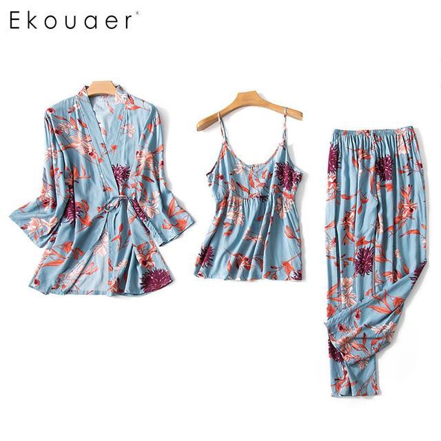 Ekouaer pyjama dété en Satin de soie, manches longues, motif Floral, ample, Kimono, pour femmes, ensemble de vêtements de nuit