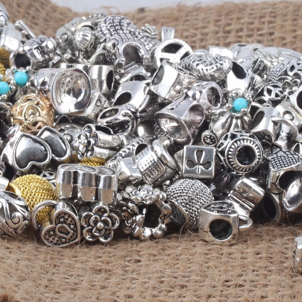 Дешевые случайные смешанные сплав очаровывает бусины Fit Пандора браслет более чем 1000 стиль для вашего выбрать