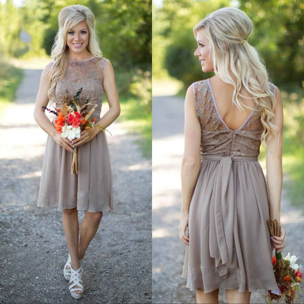 Country   Bridesmaid     Dresses   2018 Knee Length Short Chiffon Lace Sheer Neck Gray Beach Wedding Maid of Honor Party Gowns Fashion