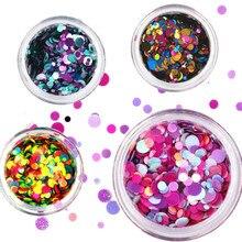1 коробка, цветные блестки, акриловый порошок, кристалл, полимер, для дизайна ногтей, советы для создания накладных насадок, для дизайна ногтей, для создания ногтей, полимерные инструменты, круг
