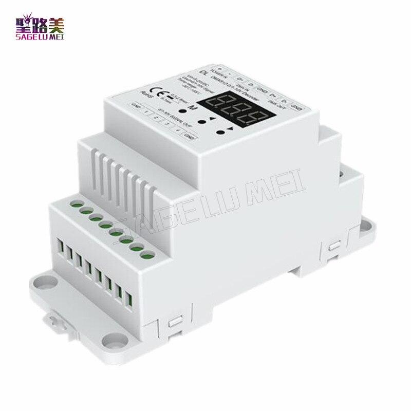 DL DC5V-24V Decodificador DMX512 para 4CH 0-10 V 0-10 V LEVOU Dimmer DMX 512 de Sinal para 0-10 V Sinal RGB/RGBW controlador de 4 Canais Dimmer