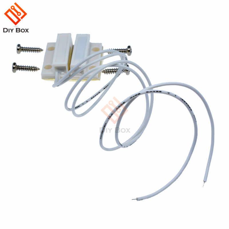 5 Pasang MC-38 MC38 Kabel Pintu Jendela Sensor N/O Beralih Alarm Magnetik 330 Mm Panjang 100V DC biasanya Tertutup NC untuk Rumah Aman