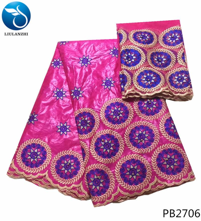 LIULANZHI rose brocart tissu africain bazin getzner indonésien batik tissu jacquard prix 5 + 2 yards/lot en gros tissu PB27