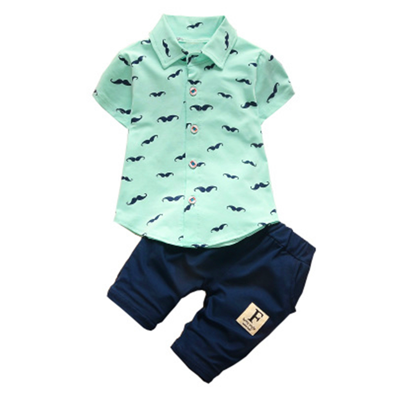 Summer Baby Boy Girl Riided särk Püksid 2Pcs / Komplektid Gentleman Style Kid Armas Beard Lapel Imiku Casual Suits Laste Tracksuit