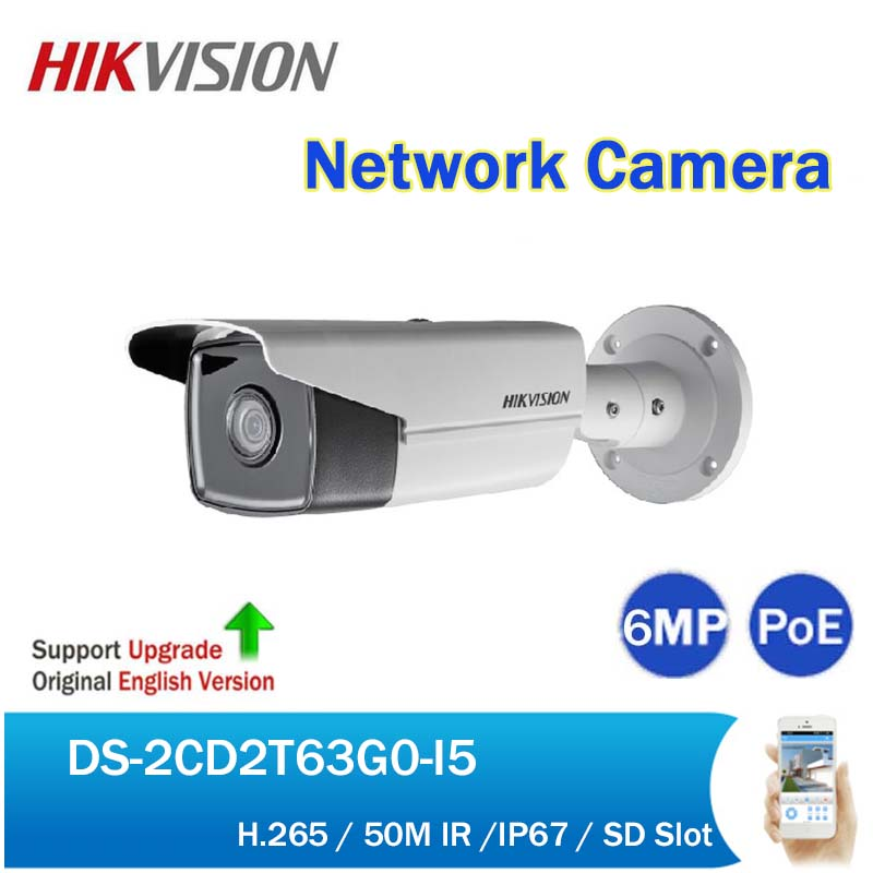 Original English Hikvision DS-2CD2T63G0-I5 6MP 50M IR Bullet Network Camera H.265 IP67 Security CCTV PoE IP Camera with SD Slot hikvision ultra low light ds 2cd3t26wd i5 2mp cctv h 265 ip bullet camera support onvif poe ir 50m waterproof outdoor