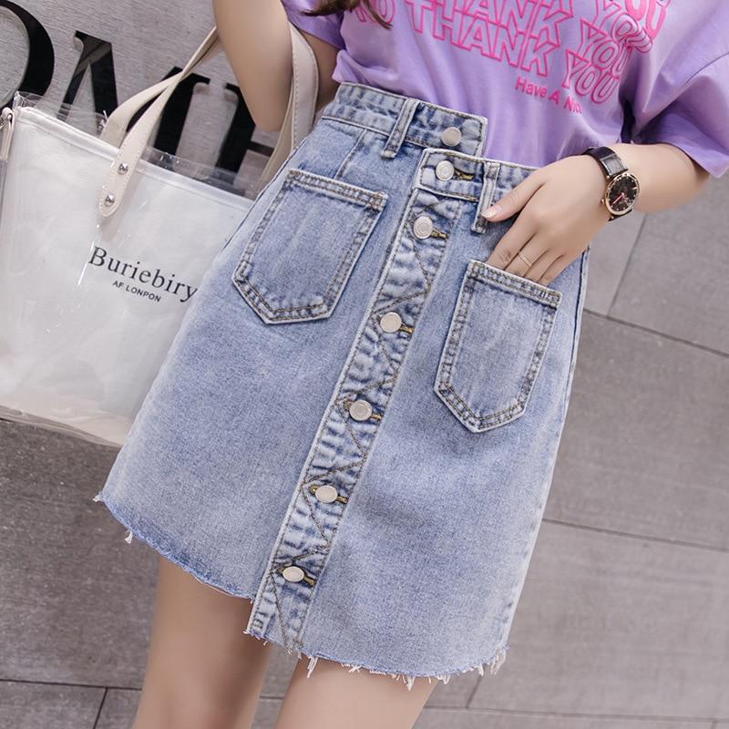 High waist Button Pocket Denim Skirts Womens 2018 Summer Short Jeans Skirt Plus Size Saias Casual Fashion New