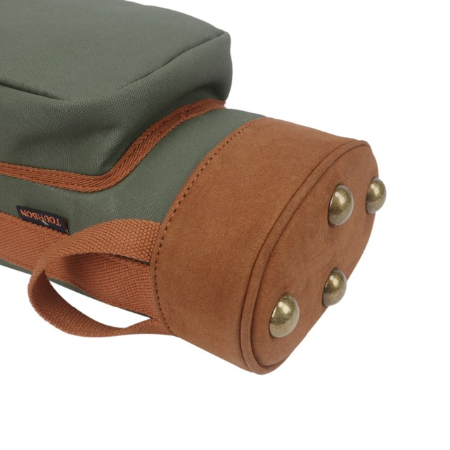 Tourbon Outdoor Vintage Golf Bag Clubs Carrier Pencil Style Waxed Canvas & Leather Fleece Padded Club Cover 90CM