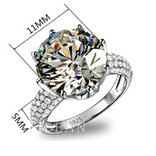 New Crystal from Swarovski ring Fashion jewelry Ring Solid 925 Silver For Women Gem Stone Rings(China)