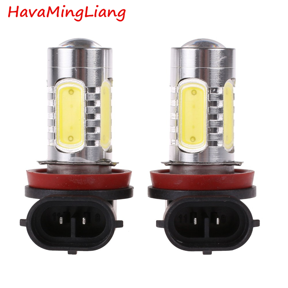 automobiles 2Pcs/pair Xenon White H8 lamp H11 COB LED Bulb Car Auto Light Source Projector DRL Driving Fog Headlight Lamp 12V DC 2pcs lot high power 1156 7 5w cob led bulb car auto light source projector drl driving fog headlight lamp 12v dc