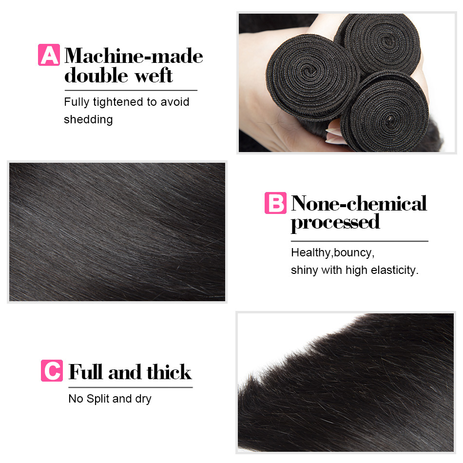 Malaysian Straight Human Hair Weave Bundles Non Remy Hair Extension Natural Black 1B# Can Be Dyed Bleached Mshere Hair