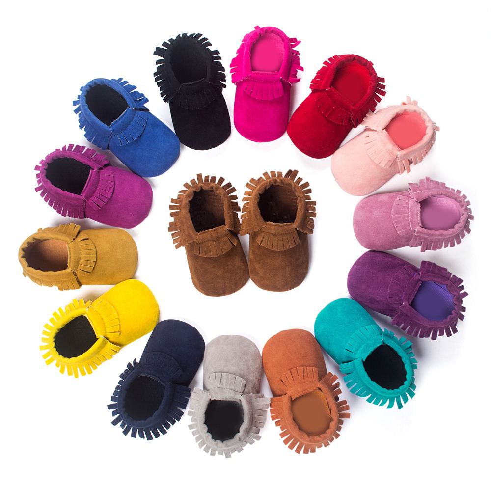 купить Bebes PU Suede Leather Newborn Baby Boy Girl Moccasins Soft Moccs First Walkers Fringe Soft Soled Non-slip Footwear Crib Shoes онлайн