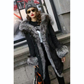 HOT Women Down Coat Fur Clothing Silver Blue Fox Fur Trimmed Hooded Long Warm Jackets Plumino Down Clothing Fur Parkas Down Coat