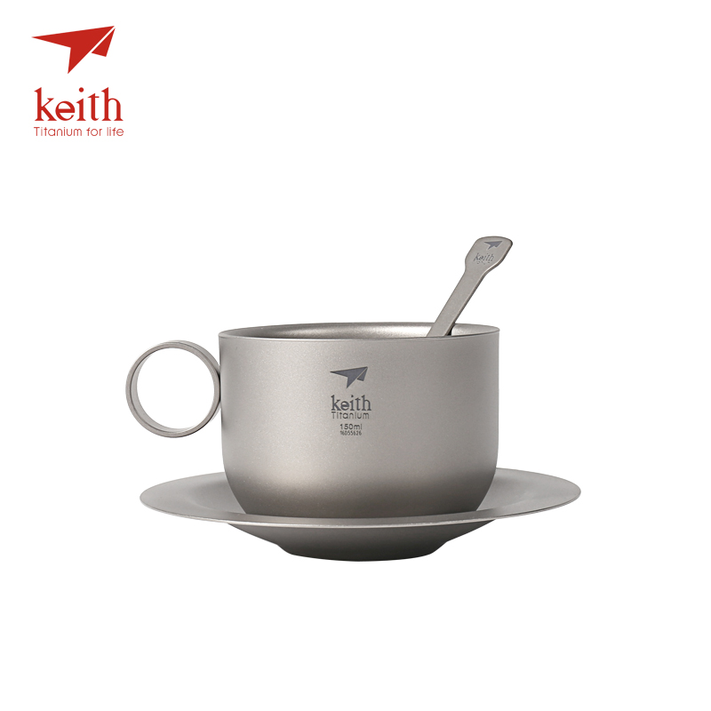 Keith Titanium Camping Coffee Cup Set Titanium Saucer Spoon Ultralight Outdoor Travel Tablewares Tea Cups Set Mug 150ml Ti3601 keith double wall titanium beer mugs insulation drinkware outdoor camping coffee cups ultralight travel mug 320ml 98g ti9221