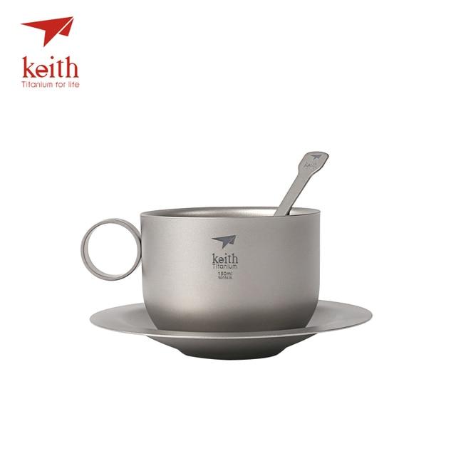 Keith Titanium Camping Coffee Cup Set Titanium Saucer Spoon Ultralight Outdoor Travel Tablewares Tea Cups Set Mug 150ml Ti3601