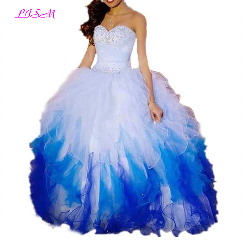 Sweetheart Ball Gown Bead Quinceanera Dresses Floor Length Organza Prom Dresses Lace up Ruffles Formal Gowns vestidos de 15 anos