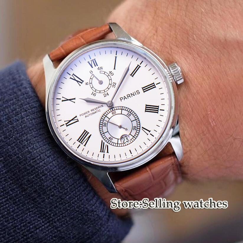 43mm Parnis Casual Automatic Power Reserve Mechanical Watches with Black Brown Leather Strap Stylish Men Watch