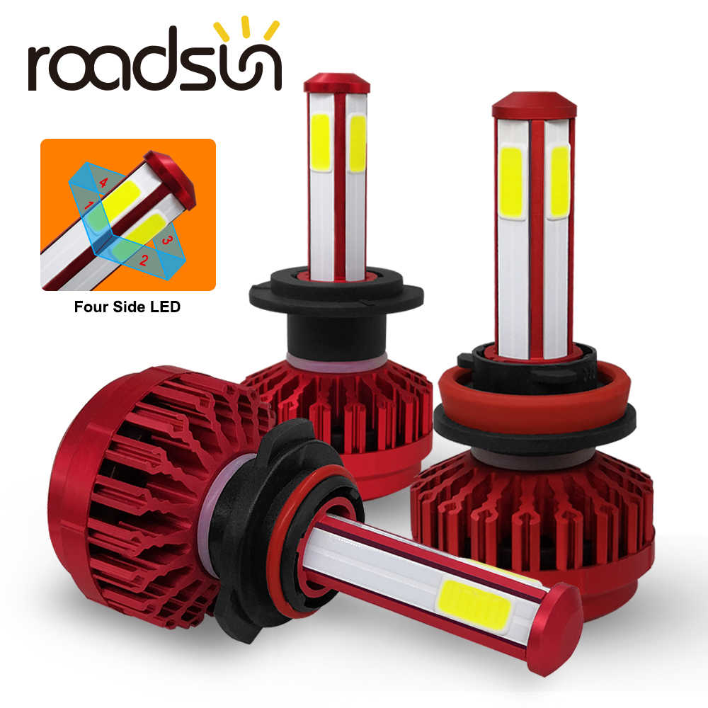 roadsun 4 Sides 12000LM H7 H4 Car Headlight Bulbs H11 HB4 Led HB3 9005 9006 12V 24V 110W 6000K Auto Lights Bulb Fog Lamp