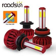 Roadsun 4 ด้าน 12000LM H7 H4 ไฟหน้ารถหลอดไฟ H11 HB4 Led HB3 9005 9006 12V 24V 110W 6000K ไฟหลอดไฟหมอก